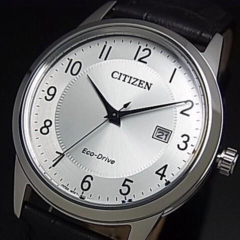 CITIZEN/Standard【シチズン/スタンダード】メンズ ソーラー腕時計 シルバー文字盤 ブラックレザーベルト 海外モデル【並行輸入品】AW1231-07A