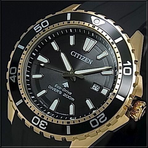 CITIZEN/PROMASTER【シチズン/プロマスター】メンズ腕時計 エコドライブ 200M防水ダイバーズ ゴールドケース ブラック文字盤 ブラックラバーベルト BN0193-17E 海外モデル【並行輸入品】