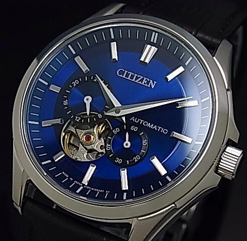 CITIZEN/Automatic【シチズン/オートマチック】自動巻 メンズ腕時計 ネイビー文字盤 ブラックレザーベルト NP1010-01L(国内正規品)MADE IN JAPAN【送料無料】