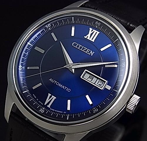 CITIZEN/Automatic【シチズン/オートマチック】自動巻 メンズ腕時計 ネイビー文字盤 ブラックレザーベルト NY4050-03L(国内正規品)MADE IN JAPAN
