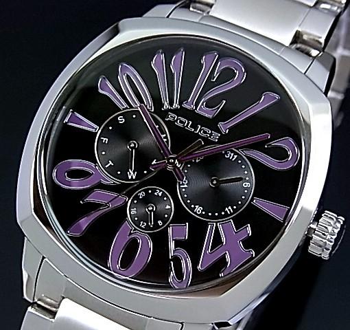 POLICE【ポリス】トリノ メンズ腕時計 マルチファンクション ブラック/パープル文字盤 メタルベルト(国内正規品)13200JS-02MG【送料無料】