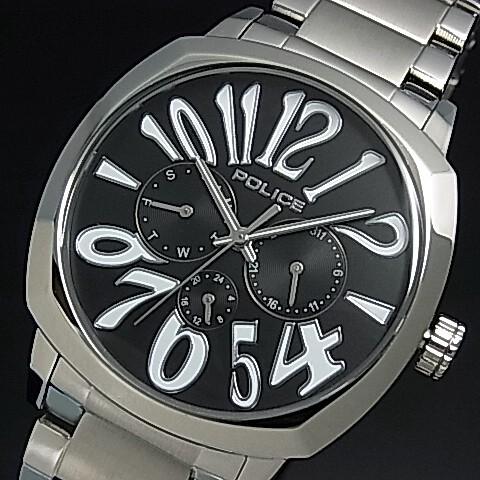 POLICE【ポリス】トリノ メンズ腕時計 マルチファンクション ブラック文字盤 メタルベルト(国内正規品)13200JS-02ME【送料無料】