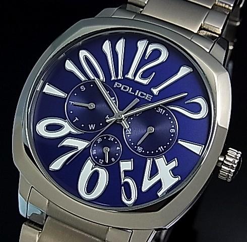 POLICE【ポリス】トリノ メンズ腕時計 マルチファンクション ネイビー文字盤 メタルベルト(国内正規品)13200JS-03MA【送料無料】
