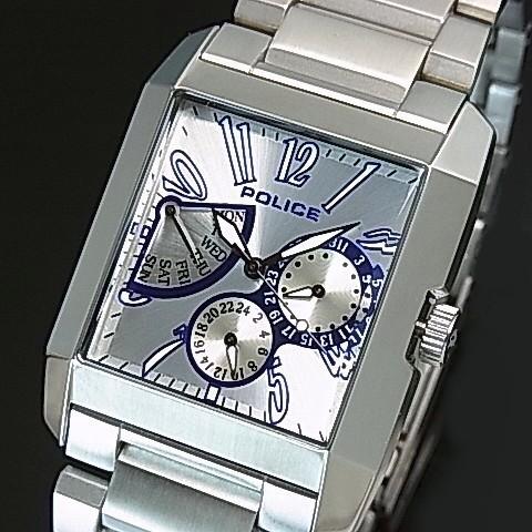 POLICE【ポリス】キングスアベニュー メンズ腕時計 レトログラードマルチカレンダー シルバー/ブルー文字盤 メタルベルト(国内正規品)13789MS-01M【送料無料】