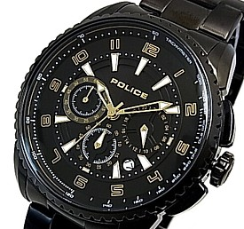 POLICE【ポリス】フレア メンズ腕時計 クロノグラフ ブラック文字盤 ブラックメタルベルト(国内正規品)13648JSB-02MC【送料無料】