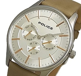 POLICE【ポリス】コーテシー メンズ腕時計 マルチカレンダー シルバー/ピンクゴールド文字盤 ベージュレザーベルト(国内正規品)14701JS-04【送料無料】