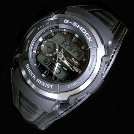 CASIO/G-SHOCKG-SPIKE/G스파이크 맨즈 손목시계 레더 모델 블랙 G-300 L-1 AV해외 모델