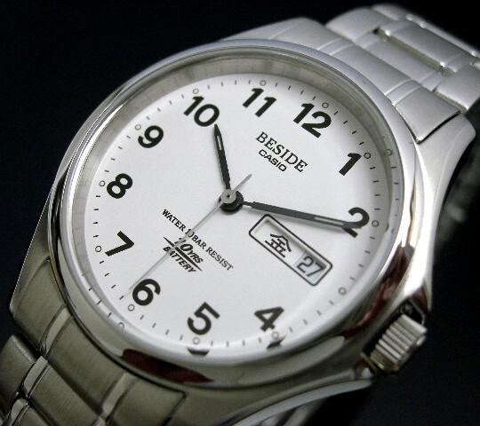CASIO/BESIDE 맨즈 손목시계 화이트 문자판 메탈 벨트 BES-105-7 B(국내 정규품)