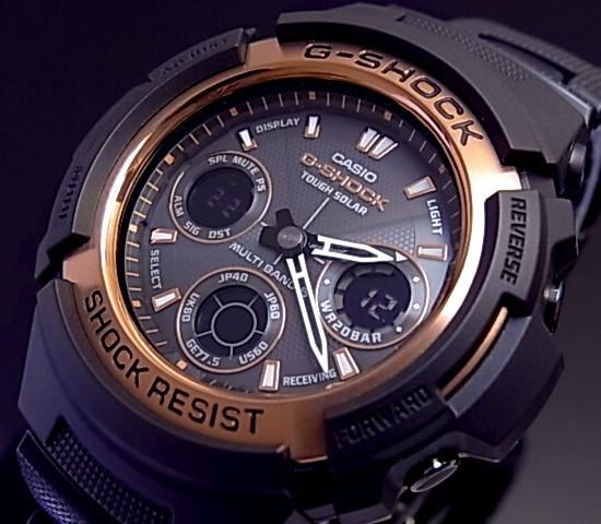 CASIO/G-SHOCK 솔러 전파 손목시계 아나데지모데르브락크/로즈 골드 AWG-100 BR-1 A해외 모델