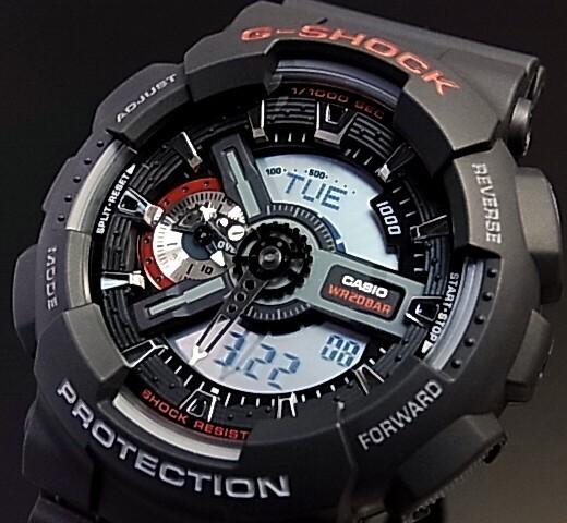 CASIO/G-SHOCK【カシオ/Gショック】アナデジ メンズ腕時計 ブラック GA-110-1A 海外モデル【並行輸入品】