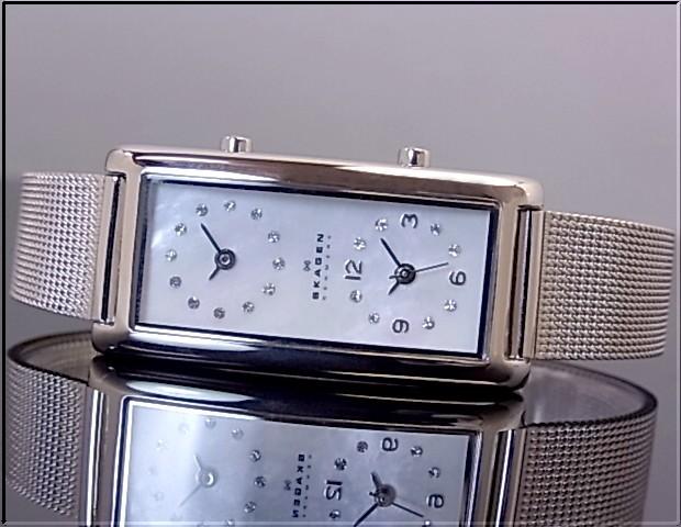 SKAGEN 여성용 시계 듀얼 타임 ホイワトシェル 문자판 메탈 벨트 20SSSMP 해외 모델