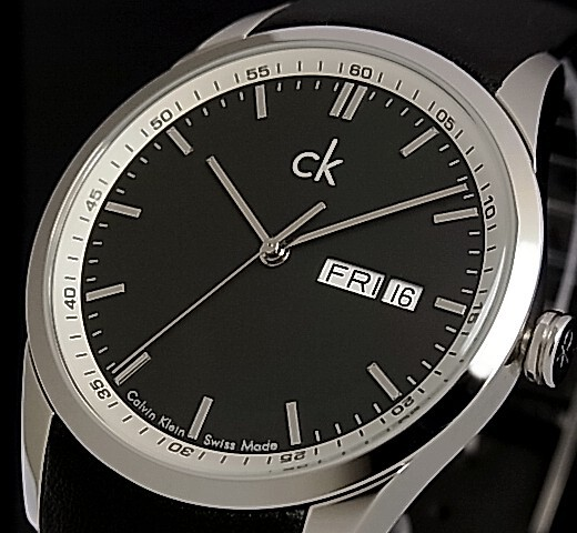 Calvin Klein men watch black clockface black belt (overseas model )K2221175)