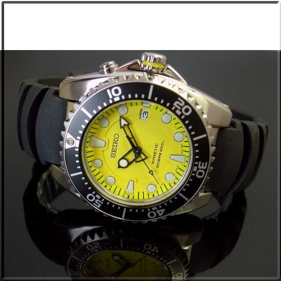 SEIKO/KINETIC diver mens watch yellow character machine rubber belt SKA367P2 (overseas model)