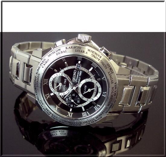 SEIKO/Premier world time alarm men's watch metal belt black letter Edition SPL009P1 (overseas model)