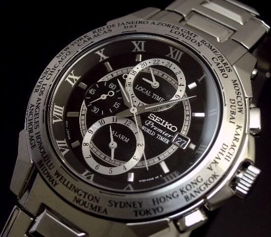 SEIKO/Premier 월드 타임 알람 맨즈 손목시계 메탈 벨트 블랙 문자판 SPL009P1(해외 모델)
