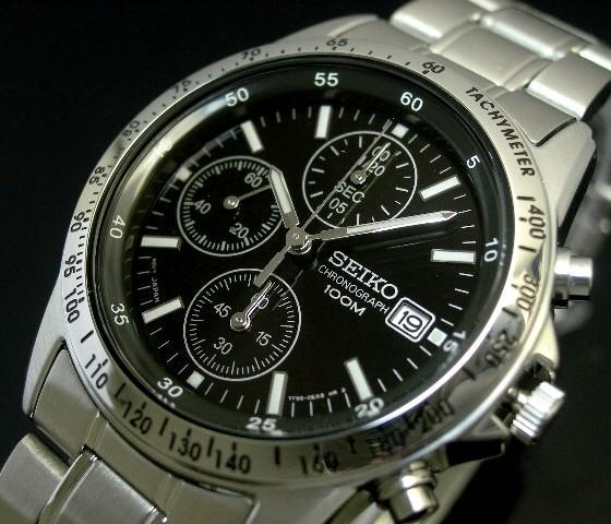 SEIKO/Chronograph【セイコー/クロノグラフ】メンズ腕時計 ブラック文字盤 メタルベルト SND367 海外モデル【並行輸入品】