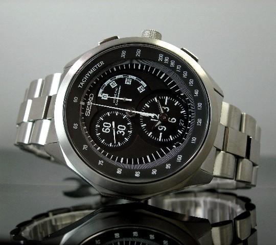 SEIKO/IGNITION キネテッククロノグラフ 티타늄 남자 시계 블랙 문자판 메탈 벨트 SBHV007 (국내 정품)