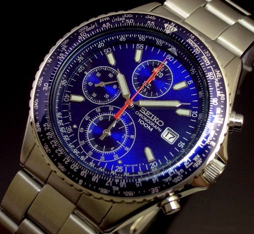 SEIKO/セイコー【パイロットクロノグラフ】メンズ腕時計 メタルベルト ブルー文字盤 SND255P1 海外モデル【並行輸入品】