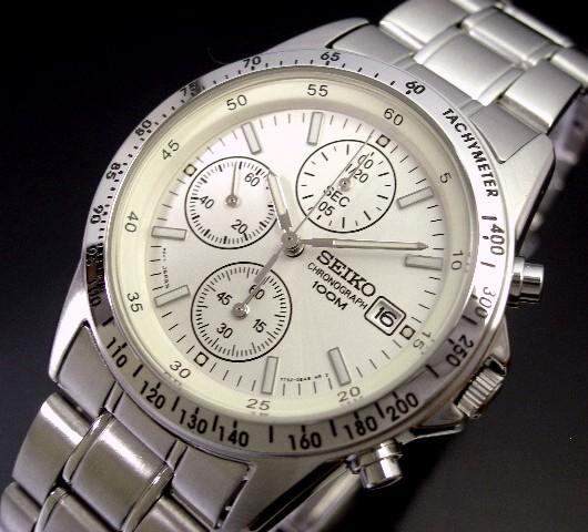 SEIKO/Chronograph【セイコー/クロノグラフ】メンズ腕時計 シルバー文字盤 メタルベルト SND363 海外モデル【並行輸入品】