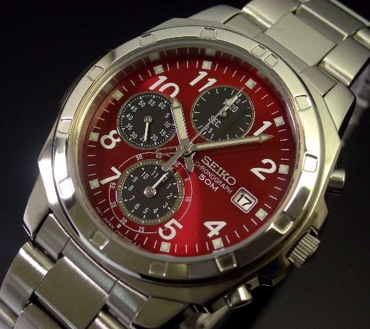 SEIKO/Chronograph【セイコー/クロノグラフ】メンズ腕時計 レッド/ブラック文字盤 メタルベルト SND495 海外モデル【並行輸入品】