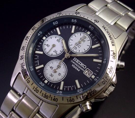 SEIKO/Chronograph【セイコー/クロノグラフ】メンズ腕時計 ネイビー文字盤 メタルベルト SND365PC 海外モデル【並行輸入品】