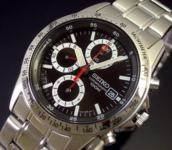 SEIKO/Chronograph【セイコー/クロノグラフ】メンズ腕時計 ブラック文字盤 メタルベルト SND371P 海外モデル【並行輸入品】