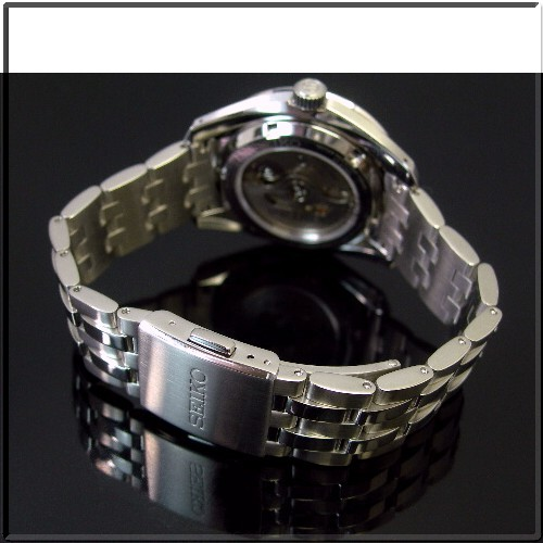 SEIKO/Mechanical Series 자동권맨즈 손목시계 스켈리턴 블랙 문자판 메탈 벨트 SARL001(국내 정규품)