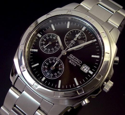 SEIKO/Chronograph【セイコー/クロノグラフ】メンズ腕時計 ブラック文字盤 メタルベルト SND191 海外モデル【並行輸入品】