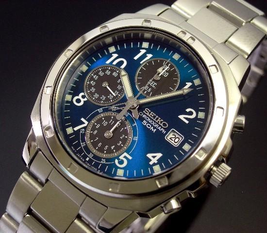 SEIKO/Chronograph【セイコー/クロノグラフ】メンズ腕時計 ブルー/ブラック文字盤 メタルベルト SND193 海外モデル【並行輸入品】