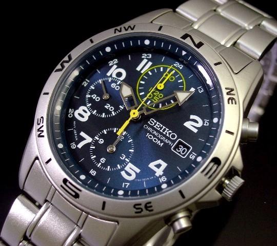 SEIKO/Chronograph【セイコー/クロノグラフ】ミリタリー メンズ腕時計 メタルベルト メタリックネイビー文字盤 SND379 海外モデル【並行輸入品】