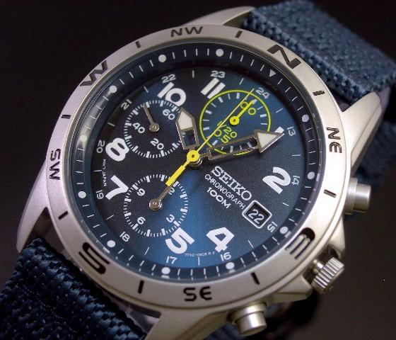 SEIKO/Chronograph【セイコー/クロノグラフ】ミリタリー メンズ腕時計 ネイビーナイロンベルト メタリックネイビー文字盤 SND379R 海外モデル【並行輸入品】