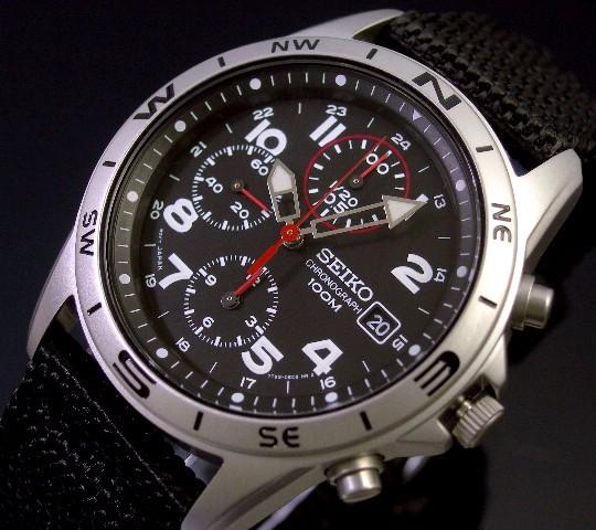 SEIKO/Chronograph【セイコー/クロノグラフ】ミリタリー メンズ腕時計 ブラックナイロンベルト ブラック文字盤 SND399 海外モデル【並行輸入品】