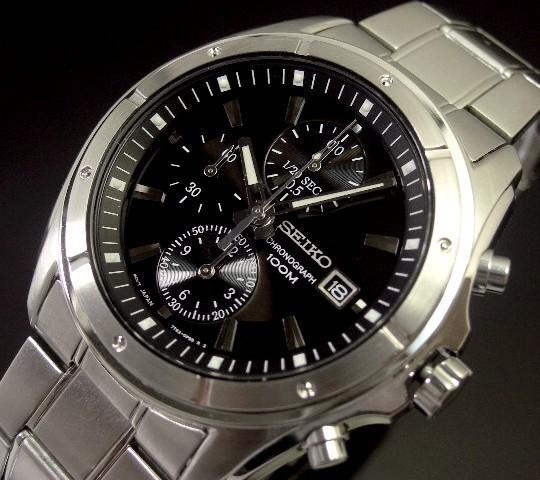 SEIKO/Chronograph【セイコー/クロノグラフ】メンズ腕時計 ブラック文字盤 メタルベルト SNDB65P1 海外モデル【並行輸入品】