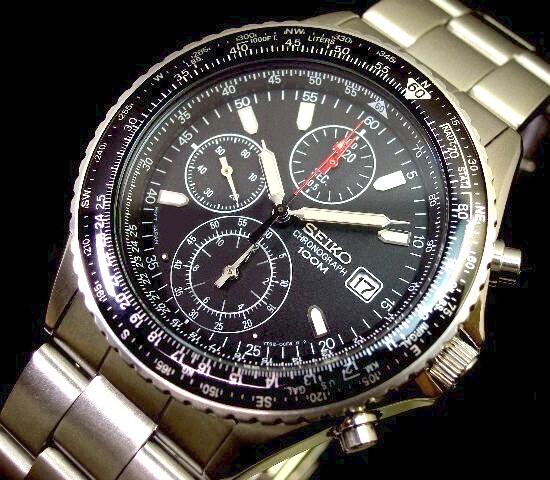 SEIKO/セイコー【パイロットクロノグラフ】メンズ腕時計 メタルベルト ブラック文字盤 SND253P1 海外モデル【並行輸入品】