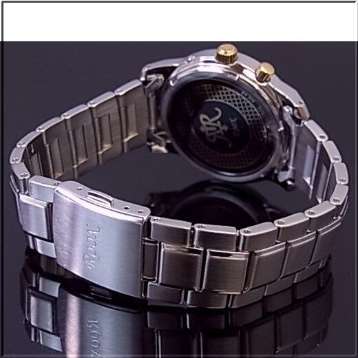 SEIKO/ALBA ROOX solar radio watch men's gunmetal / gold letter Edition metal belt AHAY005 (Japanese regular Edition)