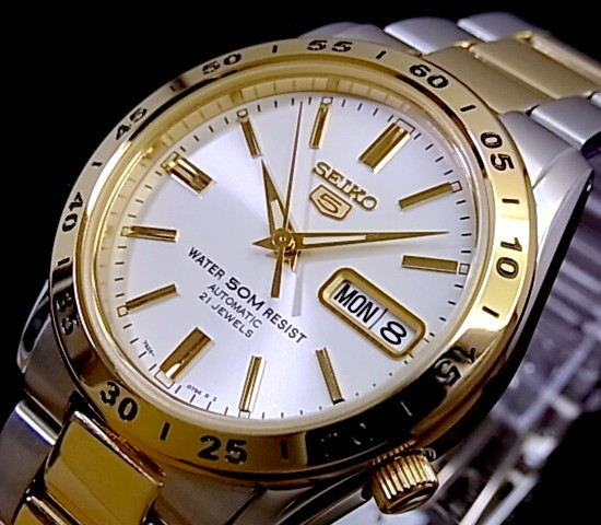 SEIKO/SEIKO5【セイコー5/セイコーファイブ】自動巻 メンズ腕時計 コンビメタルベルト ホワイト文字盤 セイコーファイブ SNKE04K1 海外モデル【並行輸入品】