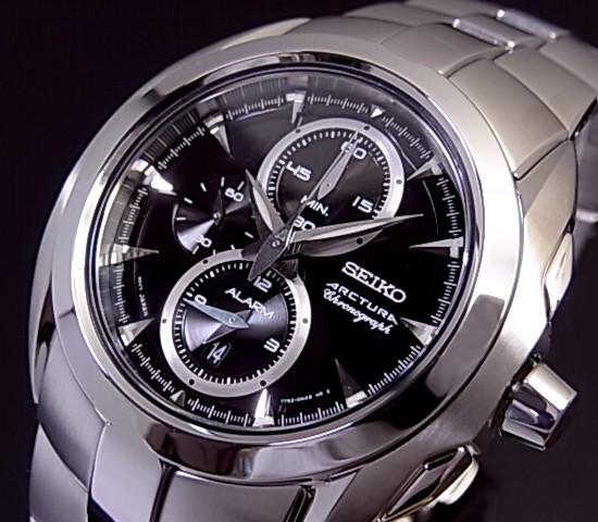 SEIKO/ARCTURA【セイコー/アークチュラ】アラームクロノグラフ メンズ腕時計 ブラック文字盤 メタルベルト SNAC17P1 海外モデル【並行輸入品】