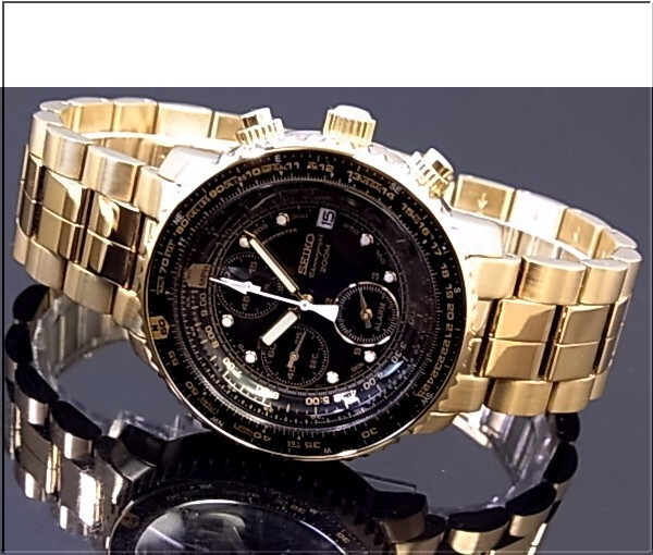 SEIKO/Alarm Chronograph 파일럿 남성용 시계 골드 메탈 벨트 블랙 문자판 SNA414P1 (해외 모델)