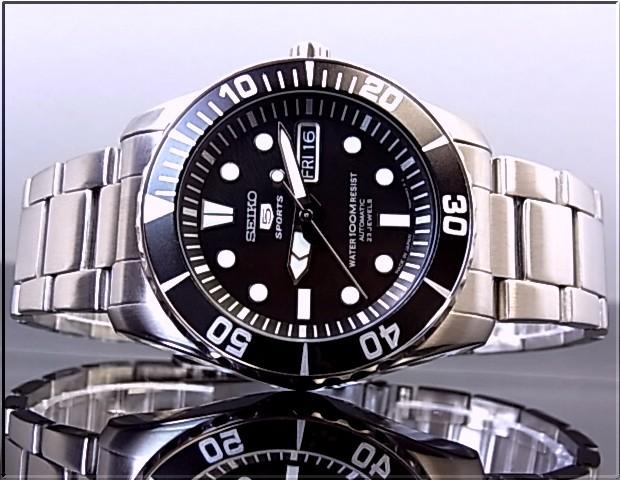 Seiko/SEIKO5 Sports automatic winding men's watch metal belt black letter Edition SNZF17J1 overseas models