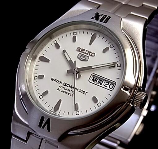 SEIKO/SEIKO5【セイコー5/セイコーファイブ】自動巻 メンズ腕時計(ポセイドン) メタルベルト ホワイト文字盤 セイコーファイブ SNK345K1 海外モデル【並行輸入品】