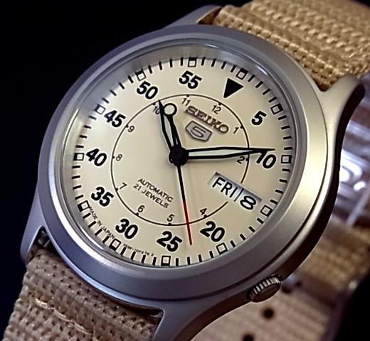 SEIKO/SEIKO5 자동 권 남자 시계 나일론 벨트 베이 지 숫자판 SNKH65J1 해외 모델