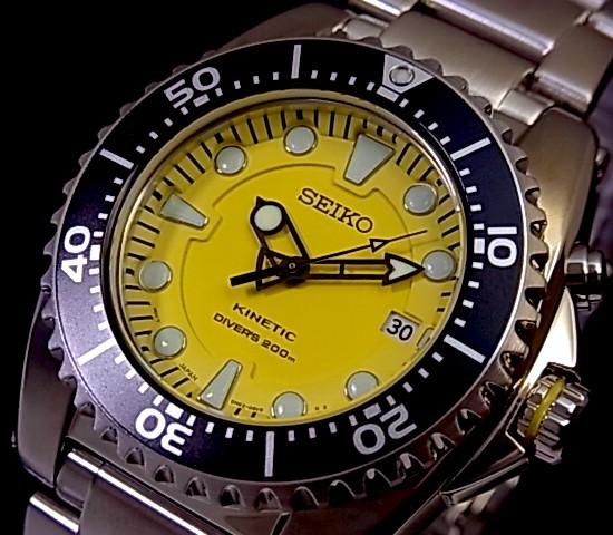 SEIKO/KINETIC 다이바즈멘즈 손목시계 옐로우 문자판 메탈 벨트 SKA367P1(해외 모델)