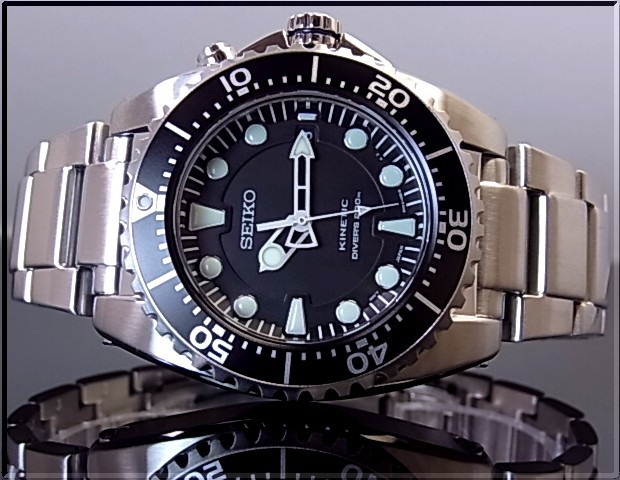 SEIKO/KINETIC divers men watch black clockface metal belt SKA371P1( foreign countries model)