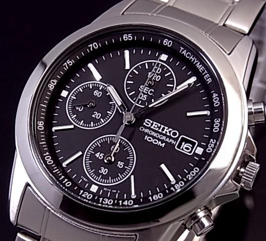 SEIKO/Chronograph【セイコー/クロノグラフ】メンズ腕時計 メタルベルト ブラック文字盤 SND309P 海外モデル【並行輸入品】