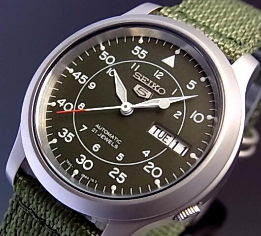 SEIKO/SEIKO5【セイコー5/セイコーファイブ】自動巻 メンズ腕時計 モスグリーンナイロンベルト モスグリーン文字盤 SNK805K2 海外モデル【並行輸入品】