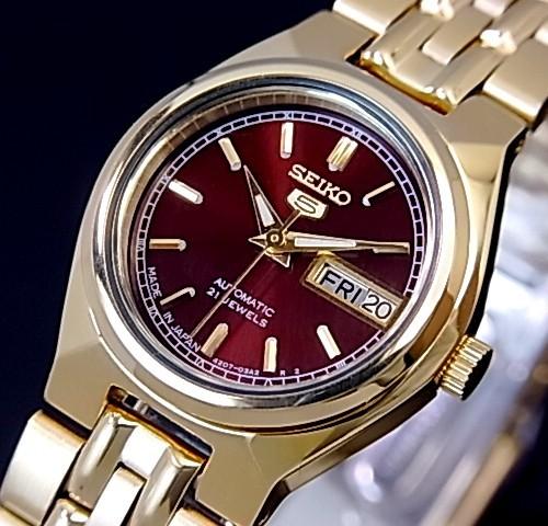 SEIKO/オートマチック【セイコー/自動巻】レディース腕時計【SEIKO5/セイコー5】ゴールドメタルベルト ワインレッド文字盤 MADE IN JAPAN セイコーファイブ SYMA02J1 海外モデル【並行輸入品】