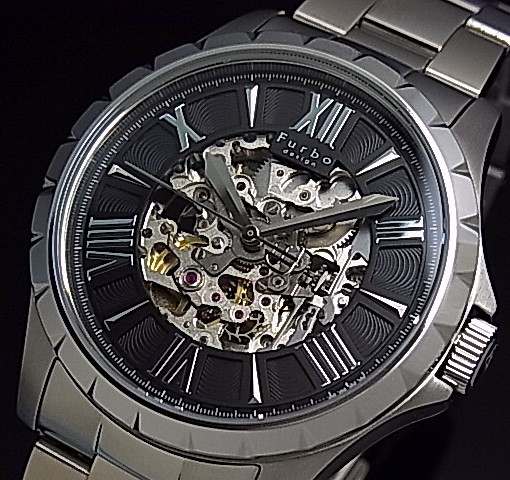 【Furbo Design / フルボ デザイン】スケルトン 自動巻 メンズ腕時計 ブラック文字盤 メタルベルト F5021BKSS【送料無料】