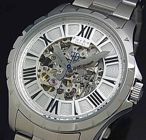 【Furbo Design / フルボ デザイン】スケルトン 自動巻 メンズ腕時計 シルバー文字盤 メタルベルト F5021SISS【送料無料】