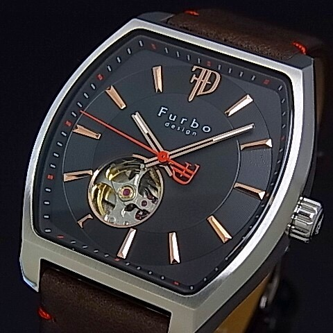 【Furbo Design / フルボ デザイン】スケルトン 自動巻 メンズ腕時計 ブラック/ピンクゴールド文字盤 ブラウンレザーベルト F8201SBKBR【送料無料】
