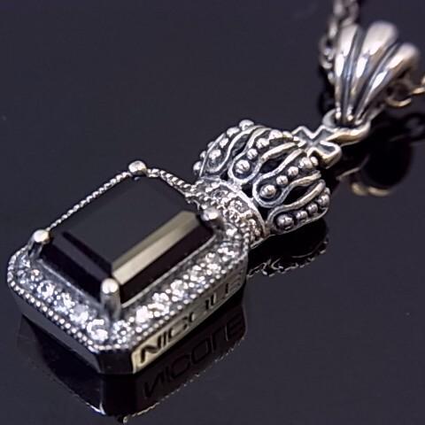 NICOLE/Silver accessory【ニコル/シルバーアクセ】天然オニキス/シルバークラウントップネックレス ブラックスピネル替えチェーン付【送料無料】NC-LS129(国内正規品)